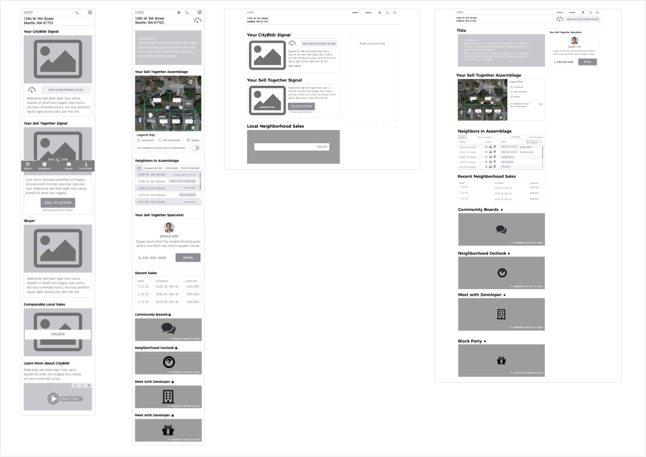 Black and White Wireframes